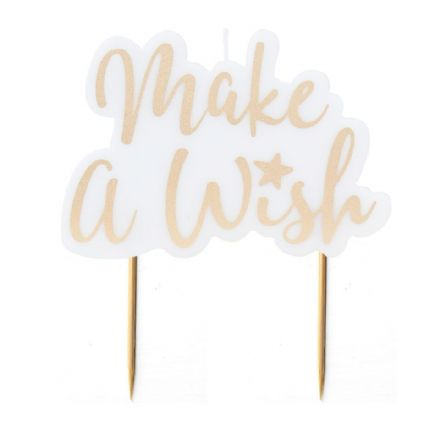 Gold Party Cake Candle 'Make a Wish'
